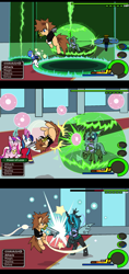 Size: 883x1869 | Tagged: safe, artist:droll3, princess cadance, queen chrysalis, shining armor, alicorn, changeling, changeling queen, earth pony, pegasus, pony, unicorn, attack, boss fight, comic, crossover, digital art, donald duck, evil grin, female, fire, glowing horn, goofy, grin, hat, horn, keyblade, kingdom hearts, laughing, magic, ponified, smiling, sora, text, wings