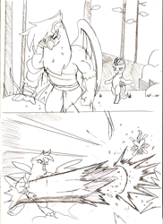 Size: 731x1005 | Tagged: safe, artist:droll3, gilda, lightning dust, griffon, pegasus, pony, comic, crossover, female, gilda is not amused, god of war, kratos, mare, monochrome, punch, sketch, tail, traditional art, tree, unamused, wings