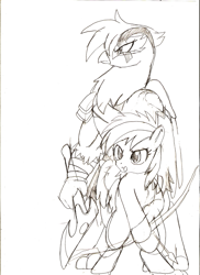 Size: 731x1005 | Tagged: safe, artist:droll3, gilda, rainbow dash, griffon, pegasus, pony, arrow, atreus, bow, crossover, female, filly, filly rainbow dash, god of war, kratos, monochrome, simple background, sketch, traditional art, white background, younger