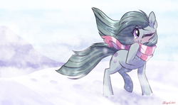 Size: 1915x1130   Tagged: safe, artist:zlayd-oodles, marble pie, earth pony, blushing, clothes, cold, cute, ear fluff, looking at you, marblebetes, one eye closed, scarf, snow, solo