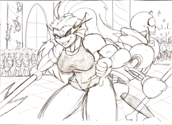 Size: 1005x731 | Tagged: safe, artist:droll3, changeling, pony, crossover, fight, monochrome, papyrus, sketch, traditional art, undertale, undyne, weapon