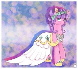 Size: 1024x911   Tagged: safe, artist:cckittycreative, petunia petals, earth pony, pony, rainbow roadtrip, clothes, cute, dress, female, floral head wreath, flower, mare, petalbetes, solo, wedding dress