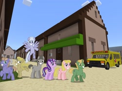 Size: 2048x1536 | Tagged: safe, artist:topsangtheman, artist:vector-brony, offbeat, starlight glimmer, earth pony, pegasus, pony, unicorn, the cutie map, minecraft, our town, scene interpretation, school bus