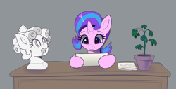 Size: 4378x2224 | Tagged: safe, artist:xbi, cozy glow, phyllis, starlight glimmer, pony, unicorn, 30 minute art challenge finished after, bust, cute, glimmerbetes, gray background, grimderp, implied decapitation, simple background, statue, table