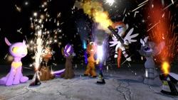 Size: 1920x1080 | Tagged: safe, artist:soad24k, oc, oc:anazona, oc:athen scrolls, oc:pawlin, oc:soadia, oc:vertex, changedling, changeling, earth pony, pegasus, pony, unicorn, 3d, 4th of july, fireworks, gmod, holiday