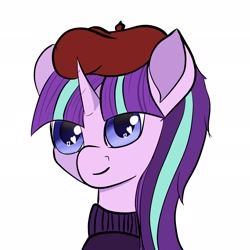 Size: 2048x2048 | Tagged: safe, artist:starfall119, starlight glimmer, pony, unicorn, bust, clothes, cute, french, simple background, solo, sweater, turtleneck
