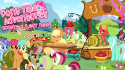 Size: 1450x815 | Tagged: safe, artist:spookitty, screencap, applejack, big macintosh, bon bon, daisy, diamond mint, flower wishes, globe trotter, granny smith, lily, lily valley, lyra heartstrings, roseluck, sunshower raindrops, sweetie drops, earth pony, pony, unicorn, apple, apple pie, butt, clothes, fan game, female, flower, food, mare, movie accurate, pie, plot, pony tale adventures, promo, rose