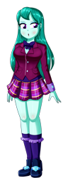Size: 604x1696 | Tagged: safe, artist:the-butch-x, cold forecast, equestria girls, :o, breasts, busty cold forecast, clothes, crystal prep academy uniform, female, open mouth, plaid skirt, school uniform, simple background, skirt, solo, transparent background
