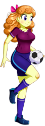 Size: 604x1696 | Tagged: safe, artist:the-butch-x, orange sherbette, equestria girls, ball, breasts, busty orange sherbette, clothes, female, football, raised leg, shirt, shorts, simple background, smiling, solo, sports, sports shorts, transparent background