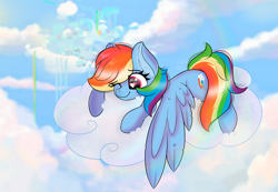 Size: 5787x3996 | Tagged: safe, artist:janelearts, rainbow dash, pegasus, pony, absurd resolution, cloud, cloudsdale, on a cloud, solo
