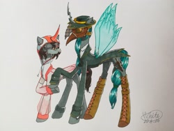 Size: 512x384 | Tagged: safe, artist:白乌鸦之翼, king sombra, queen chrysalis, changeling, unicorn, chrysombra, female, male, mask, shipping, straight, traditional art