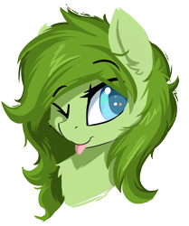 Size: 878x1051 | Tagged: safe, artist:beardie, oc, oc:lief, :p, bust, cute, fluffy, one eye closed, simple background, tongue out, transparent background, wink