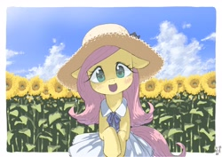 Size: 4093x2894 | Tagged: safe, artist:yanamosuda, fluttershy, pegasus, pony, blushing, bow, clothes, cute, dress, female, floppy ears, flower, flower field, full face view, hat, head tilt, looking at you, mare, open mouth, outdoors, shyabetes, sky, smiling, solo, sun hat, sundress, sunflower