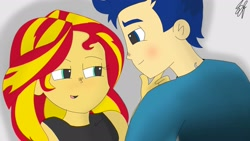 Size: 1920x1080 | Tagged: safe, artist:spideyflash017, flash sentry, sunset shimmer, equestria girls, blushing, colored, female, flashimmer, male, shipping, straight