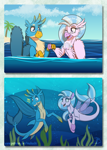 Size: 1533x2156 | Tagged: safe, artist:inuhoshi-to-darkpen, gallus, silverstream, griffon, hippogriff, seapony (g4), shark, beakless, chest fluff, cute, diastreamies, ear fluff, gallabetes, open mouth, seaponified, seapony gallus, species swap, underwater, water, wing fluff