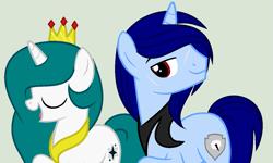 Size: 1239x743   Tagged: safe, artist:lominicinfinity, oc, oc only, oc:blue sky, oc:winter flakes, pony, unicorn, crown, female, jewelry, male, mare, regalia, simple background, stallion