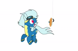 Size: 2176x1440 | Tagged: safe, artist:windy breeze, oc, pegasus, pony, bait, blueberry, clothes, flying, food, goggles, heart eyes, pie, simple background, solo, tongue out, uniform, white background, wingding eyes, wonderbolts, wonderbolts uniform