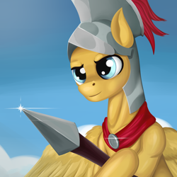 Size: 3000x3000 | Tagged: safe, artist:sanroys, flash magnus, pegasus, pony, high res, male, solo, spear, stallion, weapon