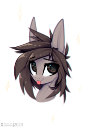 Size: 1042x1506 | Tagged: safe, artist:justafallingstar, oc, oc:jij, :p, big ears, bust, colored sketch, female, smiling, tongue out