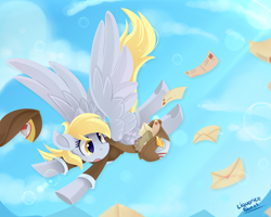 Size: 1250x1000 | Tagged: safe, artist:liquorice_sweet, derpy hooves, pegasus, blue sky, bubble, clothes, female, flying, mail, mailbag, mailmare, mailpony, mare, open mouth, solo