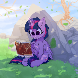 Size: 1500x1500 | Tagged: safe, artist:glazirka, twilight sparkle, alicorn, pony, book, cheek fluff, chest fluff, female, glazirka is trying to murder us, glowing horn, horn, magic, mare, reading, rock, sitting, smiling, solo, telekinesis, tree, twilight sparkle (alicorn)