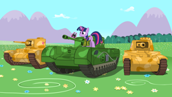 Size: 3000x1688 | Tagged: safe, artist:mrscroup, twilight sparkle, alicorn, binoculars, churchill, clothes, female, glowing horn, horn, magic, mare, matilda ii, solo, tank (vehicle), telekinesis, twilight sparkle (alicorn), uniform