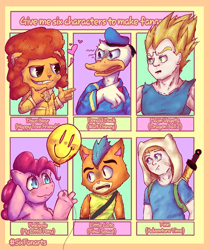 Size: 818x977 | Tagged: safe, artist:darkside_0101, pinkie pie, anthro, bear, cat, earth pony, human, pony, six fanarts, adventure time, anthro with ponies, balloon, bust, clothes, crossover, disco bear, disgusted, donald duck, dragon ball z, female, final space, finn the human, happy tree friends, hat, hoof fingers, lil cato (final space), majin, male, mare, mohawk, open mouth, pinkie being pinkie, sailor uniform, smiling, sword, uniform, vegeta, weapon