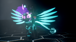 Size: 3840x2160 | Tagged: safe, artist:phoenixtm, oc, oc:phoenix stardash, cyborg, dracony, dragon, hybrid, pony, 3d, dracony alicorn, gradient mane, happy, looking at camera, spread wings, unreal engine, wings
