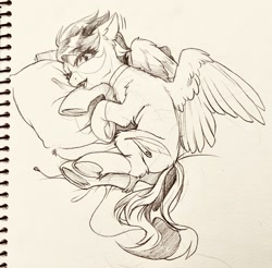 Size: 1280x1258 | Tagged: safe, artist:swaybat, oc, pegasus, pony, bed, choker, earbuds, female, looking at you, lying on bed, mare, monochrome, on bed, pillow, sketch, solo, traditional art, underhoof, wings