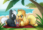 Size: 2480x1748 | Tagged: safe, artist:ali-selle, applejack, oc, oc:dragon, pony, beach, canon x oc, commission, cute, dragojack, drink, drinking, female, having fun, looking at each other, male, shipping, straight, summer, vacation