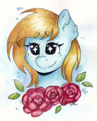 Size: 2480x3101 | Tagged: safe, artist:lightisanasshole, oc, oc only, oc:cloud cuddler, pegasus, pony, blonde hair, blonde mane, blue coat, bust, female, flower, leaf, looking at you, portrait, purple eyes, rose, solo, starry eyes, traditional art, watercolor painting, wingding eyes