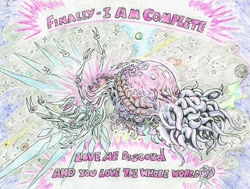 Size: 1024x774 | Tagged: safe, artist:grimmyweirdy, cosmos (character), comic:cosmic cosmos, bigger than a planet, body horror, cosmic horror, eldritch abomination, eldritch horror, multiple arms, notice me senpai, planet, stars, tentacles, this train has no brakes, transformation, xk-class end-of-the-universe scenario
