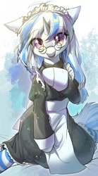 Size: 712x1280 | Tagged: safe, artist:swaybat, oc, pony, unicorn, clothes, cute, female, glasses, looking at you, maid, mare, solo