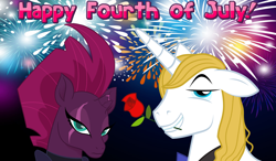 Size: 2064x1204 | Tagged: safe, edit, fizzlepop berrytwist, prince blueblood, tempest shadow, pony, unicorn, 4th of july, annoyed, arrogant, belligerent sexual tension, berryblood, female, fireworks, flower, flower in mouth, frown, holiday, male, mare, mouth hold, night, rose, rose in mouth, shipping, smiling, smug, stallion, straight, tempest shadow is not amused, this will not end well, unamused