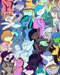 Size: 750x937 | Tagged: safe, artist:chrystal_company, oc, oc only, anthro, bat pony, earth pony, pegasus, unicorn, bat pony oc, bat wings, chibi, clothes, earth pony oc, ethereal mane, grin, group, heart, horn, pegasus oc, smiling, starry mane, struggling, unamused, unicorn oc, wings