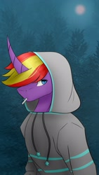 Size: 1217x2160 | Tagged: safe, artist:chrystal_company, oc, oc only, anthro, unicorn, abstract background, cigarette, clothes, curved horn, hoodie, horn, solo, unicorn oc