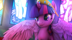 Size: 3840x2160 | Tagged: safe, artist:lunar57, twilight sparkle, alicorn, pony, 3d, beautiful, beautiful eyes, big crown thingy, cute, element of magic, female, high res, horn, jewelry, looking at something, pretty, rainbow, regalia, solo, source filmmaker, spread wings, twiabetes, twilight sparkle (alicorn), wallpaper, wings
