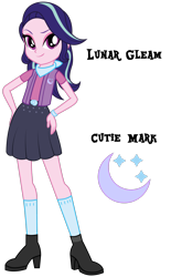 Size: 1920x3106 | Tagged: safe, artist:lhenao, oc, oc:lunar gleam, equestria girls, cutie mark, magical lesbian spawn, next generation, offspring, parent:starlight glimmer, parent:trixie, parents:startrix, solo