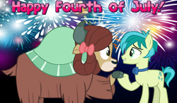 Size: 2064x1204 | Tagged: safe, sandbar, yona, earth pony, pony, yak, she's all yak, 4th of july, bow, bowtie, cloven hooves, female, fireworks, friends, friendship, hair bow, holding hooves, holiday, male, monkey swings, night, shipping, straight, yonabar, youtube link