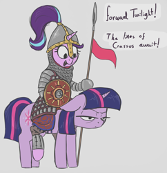 Size: 1240x1280 | Tagged: safe, artist:t72b, derpibooru exclusive, starlight glimmer, twilight sparkle, alicorn, persian, pony, unicorn, annoyed, armor, cataphract, clothes, female, flag, floppy ears, helmet, historical roleplay starlight, hoof hold, mare, ponies riding ponies, riding, shield, spear, style emulation, twilight is not amused, twilight sparkle (alicorn), unamused, weapon