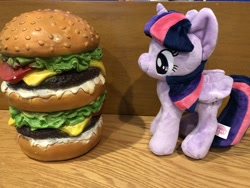 Size: 4032x3024 | Tagged: safe, twilight sparkle, alicorn, pony, borgarposting, burger, burgie, female, food, mare, photo, plushie, solo, standing, twilight burgkle, twilight sparkle (alicorn)