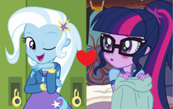 Size: 1700x1076 | Tagged: safe, edit, edited screencap, screencap, sci-twi, trixie, twilight sparkle, equestria girls, equestria girls series, forgotten friendship, legend of everfree, female, lesbian, sci-twixie, shipping, shipping domino, twixie