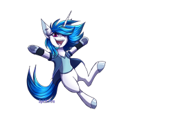 Size: 2700x2000   Tagged: safe, artist:spirit-fire360, dj pon-3, vinyl scratch, unicorn, clothes, ear piercing, earring, hair over one eye, jewelry, open mouth, piercing, red eyes, shirt, simple background, transparent background