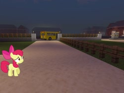Size: 2048x1536 | Tagged: safe, artist:estories, artist:topsangtheman, apple bloom, earth pony, pony, the super speedy cider squeezy 6000, driving, implied applejack, minecraft, night, running away, sad, school bus