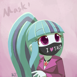 Size: 800x800 | Tagged: safe, artist:howxu, sonata dusk, equestria girls, coronavirus, covid-19, female, mask, solo, that girl sure loves tacos, that siren sure does love tacos