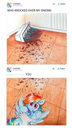 Size: 2322x4128 | Tagged: safe, artist:liaaqila, rainbow dash, human, pegasus, pony, bad pony, behaving like a cat, caught, cute, dashabetes, dirt, food, frog (hoof), garden, hand, hand on chest, high res, holding a pony, looking at you, meme, meta, onion, pencil drawing, plant, planter, ponified animal photo, reddit, redraw, rubbing, social media, soil, traditional art, twitter, underhoof, vegetables