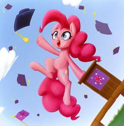 Size: 1386x1402 | Tagged: safe, artist:ikarooz, pinkie pie, pony, atg 2020, cutie mark, female, graduation, happy, hat, implied twilight sparkle, jumping, mare, newbie artist training grounds, open mouth, school, solo