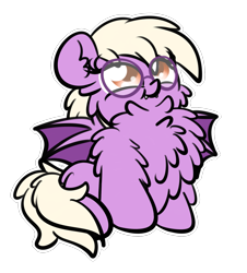 Size: 1777x1963 | Tagged: safe, artist:kimjoman, oc, oc only, oc:pinkfull night, bat pony, pony, adorkable, bat pony oc, bat wings, chest fluff, cute, dork, fangs, female, fluffy, glasses, hoof fluff, impossibly large chest fluff, simple background, sitting, solo, spread wings, teenager, transparent background, wings