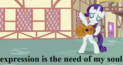 Size: 720x384 | Tagged: safe, edit, edited screencap, screencap, rarity, honest apple, archy and mehitabel, cropped, don marquis, guitar, musical instrument, ponyville, text, the coming of archy