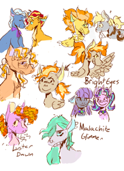 Size: 1700x2338 | Tagged: safe, artist:tinyd4ncer, derpy hooves, luster dawn, maud pie, spitfire, starlight glimmer, sunset shimmer, trixie, derpfire, female, lesbian, magical lesbian spawn, male, offspring, parent:derpy hooves, parent:maud pie, parent:spitfire, parent:starlight glimmer, parent:sunset shimmer, parent:trixie, parents:starmaud, parents:suntrix, shipping, starmaud, suntrix